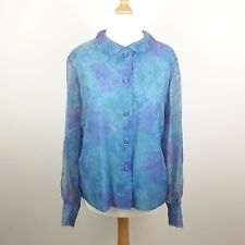 ST MICHAEL M&S LADIES WOMEN'S VINTAGE 1960's LONG SLEEVE BLUE BLOUSE SIZE 16