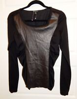 LaFayette 148 New York Black Wool Blend Ruched Leather Stretch Top sz S