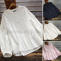 Women Cotton Casual Summer Puff Sleeve Loose Tops Shirt Button Down Solid Blouse