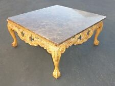 Beautiful Vintage French Ornate Carved Wood Cocktail COFFEE TABLE Marble Top