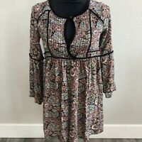 American Eagle Bell Sleeve Floral Boho Top Tunic Size Small Velvet Trim Womens