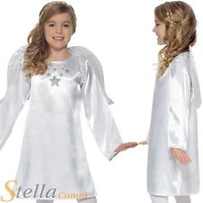 Girls Angel Nativity Christmas Xmas Fancy Dress Costume With Wings Small Age 4-6
