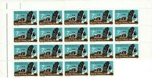 Stamps 1972 Australia 50 years radio broadcasting top right corner block of 19