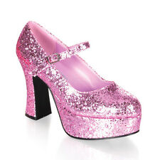 "4"" Pink Glitter Chunky Heels Mens Drag Queen Costume Shoes Womans sizes 12 13 14"