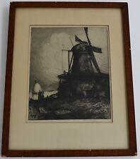 Albany E. Howarth Dutch Mill Dordrecht Netherlands 1909 Landscape Etching Signed