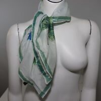New Vintage Head Scarf Green Blue Leaves Rayon Made In Japan