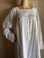 Eileen West Blue Fall Long Sleeve 100% Cotton Dreamline Nightgown 2X