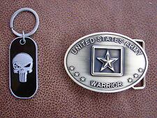 U.S. ARMY SNIPER PUNISHER KEY RING AND BRASS PLATED BELT BUCKLE