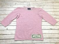 PETER SCOTT Woman's 38 Sweater Pink/Gray Stripe Made In Scotland 53% Cashmere