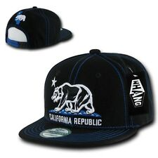 California Republic Black & Blue Contra Stitch Flat Snapback Snap Back Cap Hat