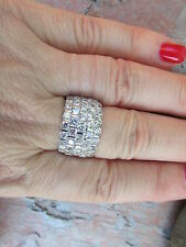 Sterling Silver CZ Shiny Staggered Channel Cigar Band Wide Ring Size 8 NEW