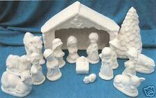 16 PC. CHILDREN'S  NATIVITY        CERAMIC BISQUE CHRISTMAS U-PAINT