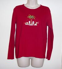"Villager Red Pull Over Top Ladies M  Bust 38"" Length 23 1/2"""