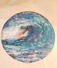 VINTAGE PAINTING SURFER RIDING A WAVE SIGNED BIG WAVE SURF OCEAN HAWAII