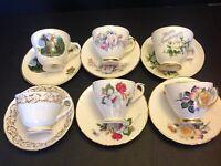 6 SETS CUPS & SAUCERS BY ROYAL MALVERN & ROYAL TRENT BONE CHINA ENGLAND LOT 41