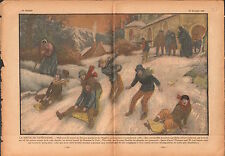 Village Luges Enfants Eglise Cathéchisme Sports d'Hiver France 1936 ILLUSTRATION