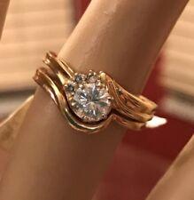 14k Beautiful .50Ct Moissanite And Real Diamond CHARLES & Colvard Wedding Set