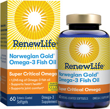 Renew Life Norwegian Gold Super Critical Omega - 60 Fish Gels   Heart and Joint