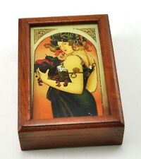 Vintage Reverse Glass Painting Wood Box French Lady Fruit Jewelry Keepsake