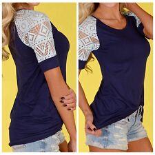 moda donna larga estate maglia pizzo t-shirt maniche corte casual maglietta AY