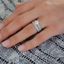 2.86 Carat Diamond Engagement Band 14K White Gold VVS1/D Ring Set Size I J K L M