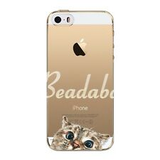 Hot Clear Thin Soft TPU Cute Pet Dog Cat Painted Case Cover For iPhone SE 5 5S