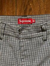 Supreme Mini Check Plaid Work Pants Gray Size 32 SS16
