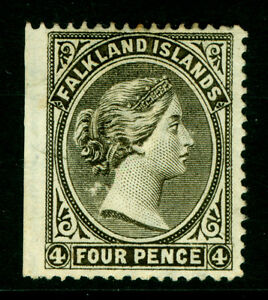 FALKLAND ISLANDS 1889 VICTORIA 4p olive gray  Scott # 6b  MINT MH VF