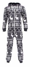 Kids Boys Girls Onesie Soulstar Print Fleece Lined Hooded Deer Dark Grey Age 8