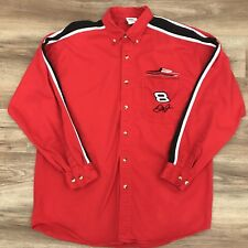Dale Earnhardt Jr Mens Long Sleeve Button Front Shirt Red Size Large. A6