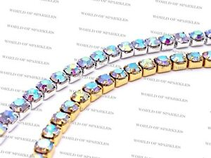 Diamante/Rhinestone AB/Iridescent Crystal Chain Trim Lace Ribbon Silver & Gold