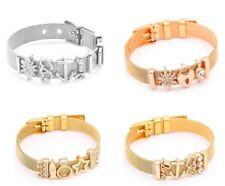 Women Stainless Steel Bracelet With Charms Mesh Charms Beads
