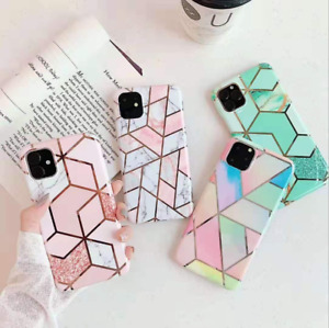 Geometric Marble Case for iPhone 12 Pro Max 11 SE XS 7 8 Plus Soft Pastel Cover