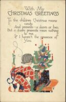 Christmas PF Volland Arts & Crafts Child Tree Gifts c1915 Postcard