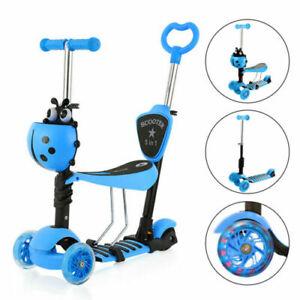 5 in 1 Kids Child Scooter 3 Wheel Toddler Beginner Kick Scooters Adjustable Seat