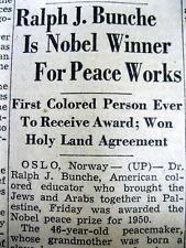 <1950 newspaper RALPH BUNCHE 1st NEGRO to WIN NOBEL PEACE PRIZE Black Americana