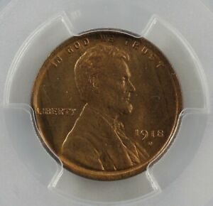 1918 D Lincoln Head Cent Old Copper Collector Coin, Lincoln One Cent PCGS MS64RB