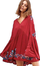 People Womens XS Te Amo Embroidered Peasant Dress Red OB674271