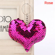 Heart Shaped Mermaid Sequins Key Chain Handbag Pendant Keyring Jewelry Gifts FG