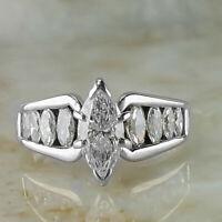 5.00 Ct Diamond Marquise Cut Engagement Wedding Ring 14K White Gold Finish
