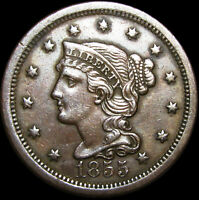 1855 Braided Hair Large Cent Type Penny Upright 55 ---- STUNNING ----  #C286