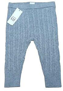GAP Baby Girls Grey Ribbed Soft Blend Leggings 100% Cotton 3-6 Months RRP £14.99
