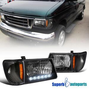 For 1992-2006 Ford Econoline Van E-150 E-250 E-350 Black Headlight LED Bar Lamps