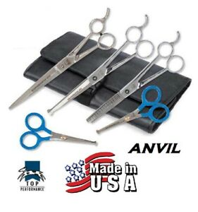 5 pc SET PET Dog PRO GROOMING THINNING,BLUNT TIP CURVED&STRAIGHT SHEARS Scissors