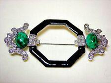 Art Deco 89 Crystal Rhinestone Pin Brooch Emerald Green