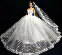 New Handmade For Barbie Wedding Dress Long Veil Shoes Earrings 6PC