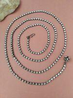 "vintage single strand long rhinestones necklace or belt 40"""
