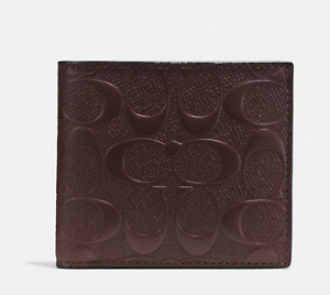 Coach Mahogany Signature C  Billfold Crossgrain Leather Coin Wallet  NWT