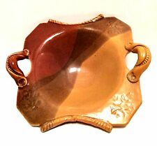 Art Pottery Bowl Leaf Imprints Earthtone Colors Applied Handles Marked 9 inches