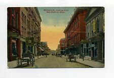 New Bedford MA Mass Williams Street view, tracks, people, tonsorial parlor 1915